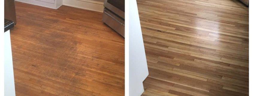 Eiche Stabparkett - Vorher/Nachher in einer Küche