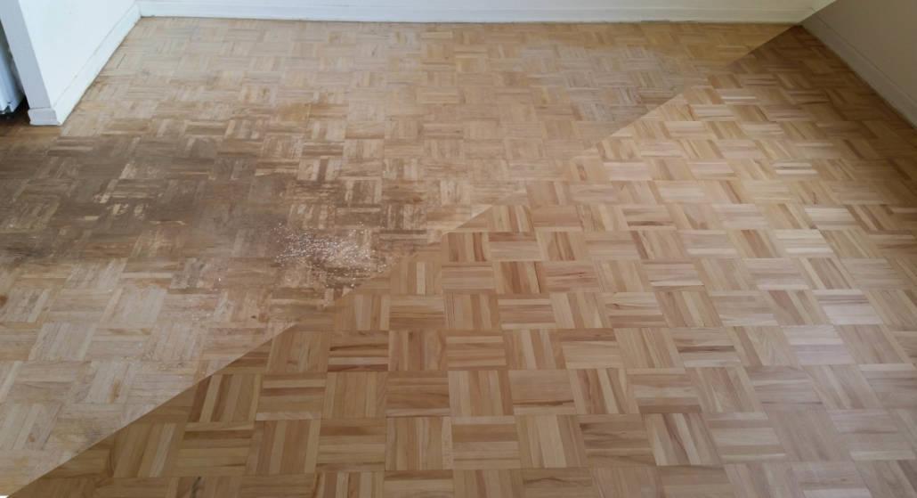 Mosaikparkett renoviert und matt versiegelt - vorher/nachher